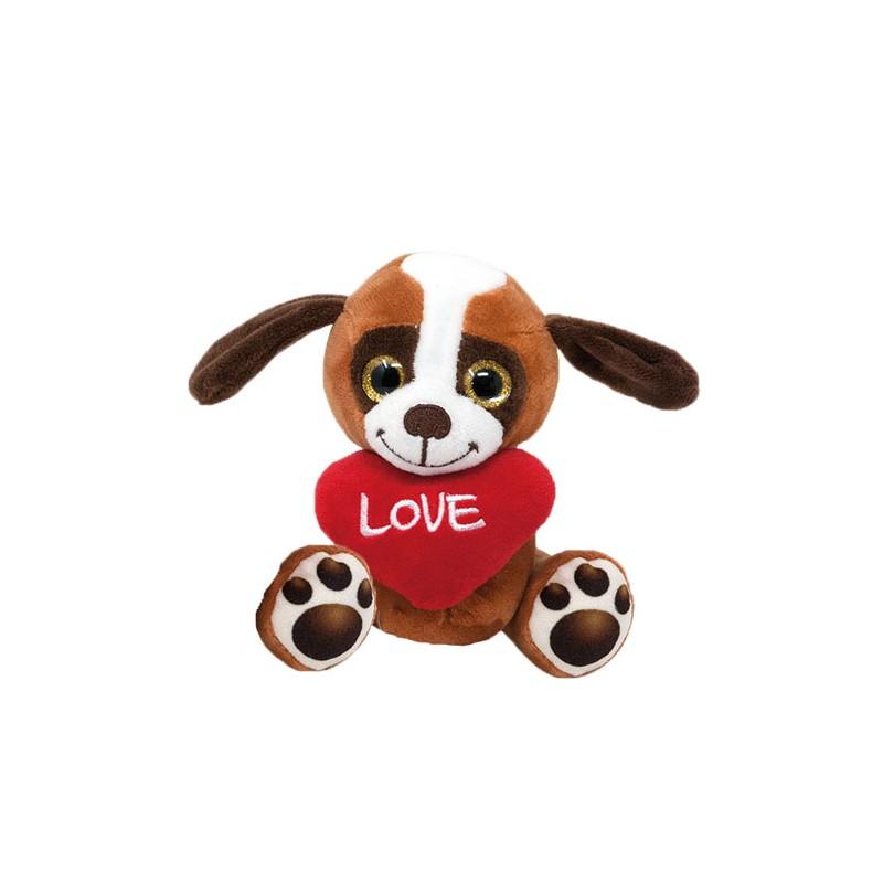 Plüsch Hund Basset mit Herz 14cm